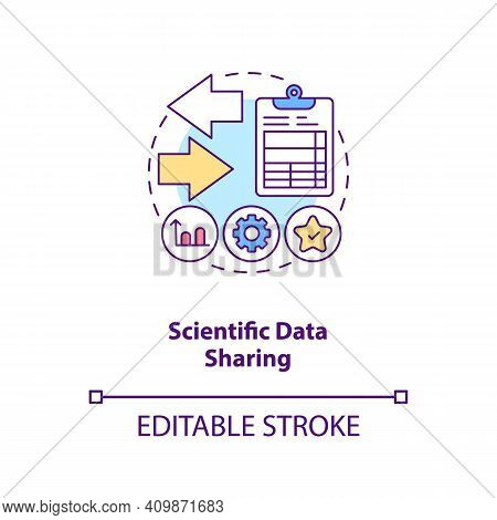 Scientific Data Sharing Concept Icon. Published Study In Journal Idea Thin Line Illustration. Additi