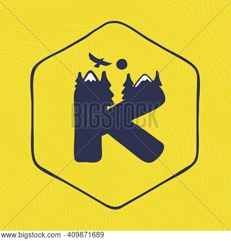 K Letter Logo With Mountains Peaks And Trees On A Landscape Line Pattern. Adventure And Outdoor Vint