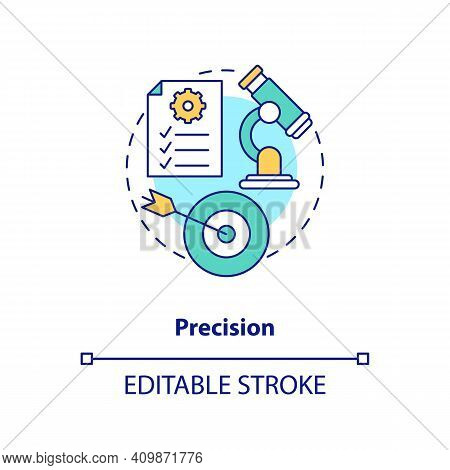Precision Concept Icon. Measuring Theoretical Concepts Idea Thin Line Illustration. Testing Theory A