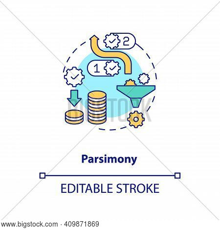 Parsimony Concept Icon. Method Of Scientific Research Idea Thin Line Illustration. Collected Data An