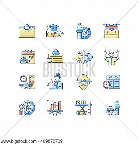 Aviation Rgb Color Icons Set. Civil Aviation Issues. Flight Attendant License. Airlines Management I