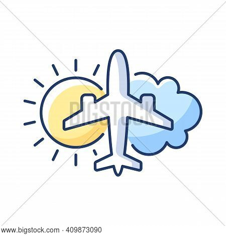 Aeronautical Meteorology Rgb Color Icon. Airlines Management Improvement. Civil Aviation Issues. Whe