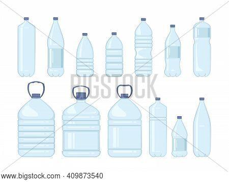 Plastic Water Bottle Set Isolated On White Background. Ready Design Water Bottle Set. Beverage Plast