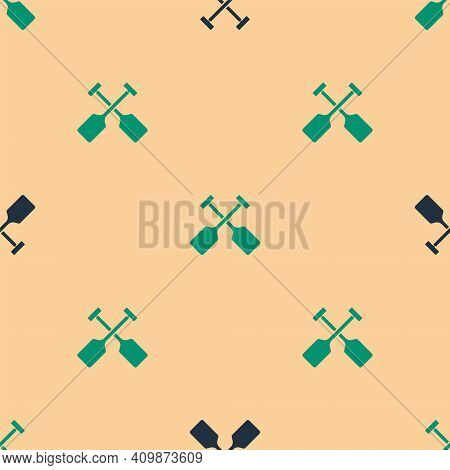 Green And Black Paddle Icon Isolated Seamless Pattern On Beige Background. Paddle Boat Oars. Vector
