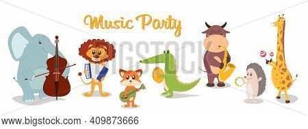 Music Poster With Cartoon Animals Musicians Playing Musical Instruents. Collection Of Cute Cartoon M