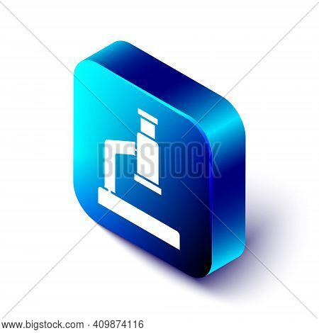 Isometric Microscope Icon Isolated On White Background. Chemistry, Pharmaceutical Instrument, Microb