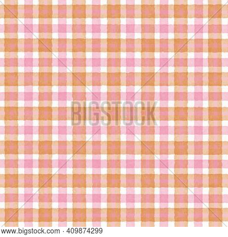 Pink Orange Brown Vintage Checkered Background With Blur, Gradient And Grunge Texture. Classic Check