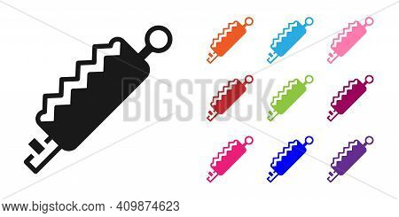 Black Trap Hunting Icon Isolated On White Background. Set Icons Colorful. Vector
