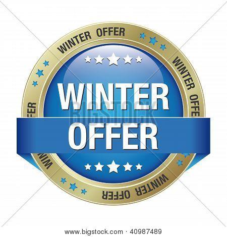 Winter Offer Button Blue Gold