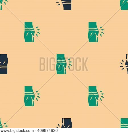 Green And Black Abdominal Bloating Icon Isolated Seamless Pattern On Beige Background. Constipation