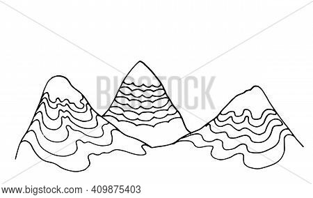 Vector Isolated Drawing Of A Mountain With Several Peaks And A Pattern Of Wavy Lines. Hand Drawn Hil