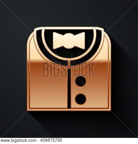 Gold Suit Icon Isolated On Black Background. Tuxedo. Wedding Suits With Necktie. Long Shadow Style.