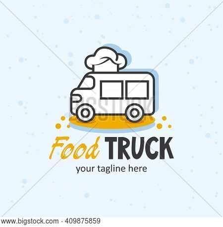 Food Truck Creative Logo. Truck With A Chef Hat Funny Concept.