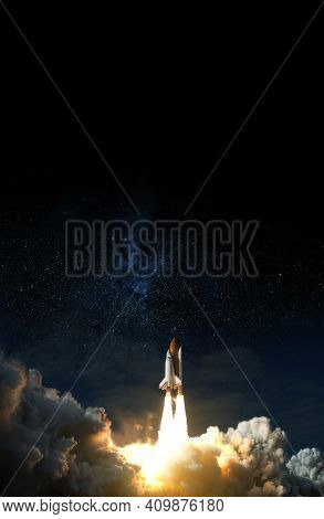 Space Shuttle Takes Off Into Space. Elements Of This Image Furnished By Nasa.