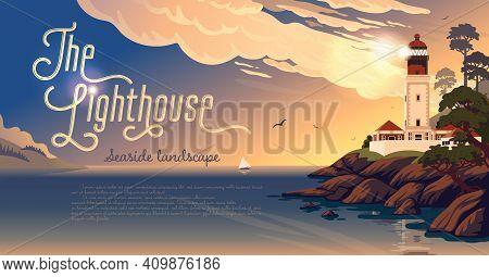 Lighthouse - Vector Landscape. Sea Landscape With Beacon On The Beach On Sunset. Vector Horizontal I