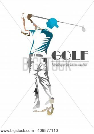 Golf Player Background.vector Eps10 Illusration. Particle Divergent Composition