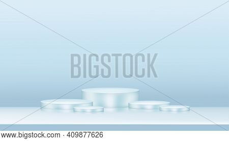 3d Studio With Composition Empty Showcase Podium For Cosmetic Or Beauty Product Presentation On Blue