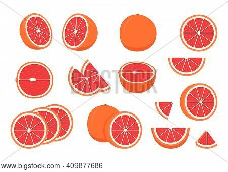 Set Of Ripe Grapefruit - Whole, Cut Half, Piece And Slice Chopped Of Grapefruit. Fresh Sour Citrus F
