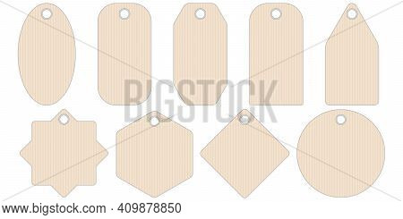 Set Geometric Shape Paper Price Tags Or Gift Tags Of Various Shapes, Vector Set Tag Stickers For Sel