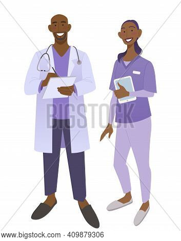 Friendly African American Doctors In Medical Uniform. Smiling Man And Woman Physicians. Friendly The