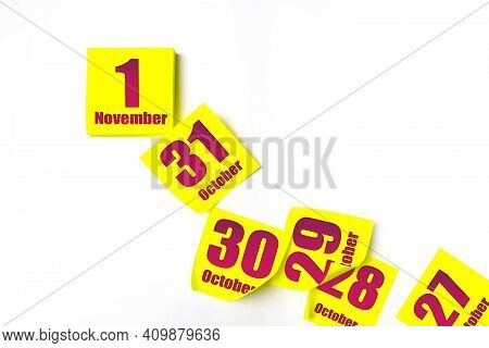 November 1st . Day 1 Of Month, Calendar Date. Many Yellow Sheet Of The Calendar. Autumn Month, Day O