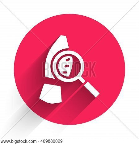 White Magnifying Glass With Footsteps Icon Isolated With Long Shadow. Detective Is Investigating. To