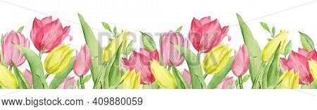 Watercolor Seamless Border Of Pink And Yellow Tulips And Green Leaves. Easter Floral Border Isolated