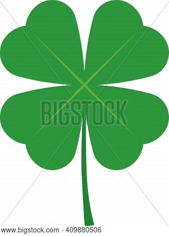 Flat Four Leaf Clover Isolated On White Background