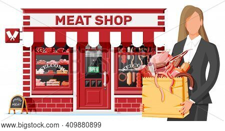 Butcher Shop Store Facade With Woman Cutomer. Meat Street Market. Meat Store Stall Showcase Counter.