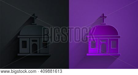 Paper Cut Santorini Building Icon Isolated On Black On Purple Background. Traditional Greek White Ho