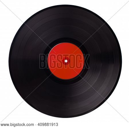 Old Retro Hipster Vinyl Record From The 70s, 80s, 90s On A White Background.