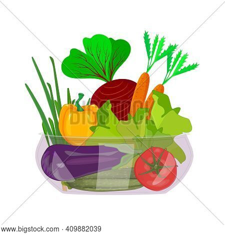 Vegetables In Bowl Isolated On White Background. Bell, Carrot, Tomato, Pepper, Onion, Lettuce, Beetr