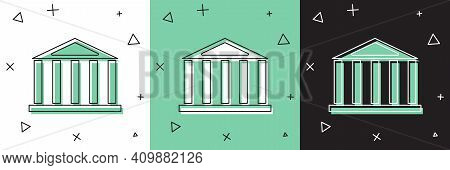 Set Parthenon From Athens, Acropolis, Greece Icon Isolated On White And Green, Black Background. Gre
