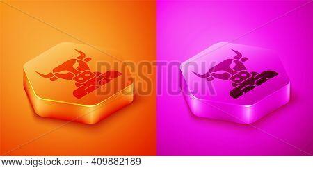 Isometric Minotaur Icon Isolated On Orange And Pink Background. Mythical Greek Powerful Creature The