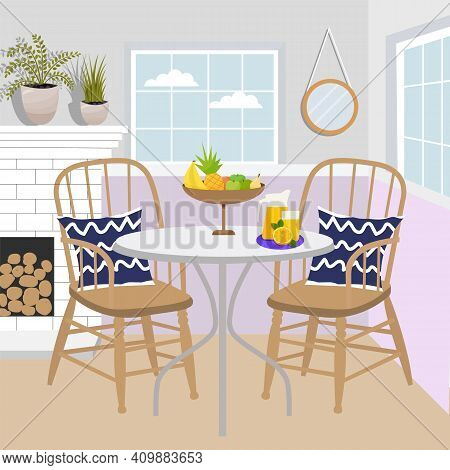 Royal Collection. Dining Table In Classic Style. Cozy Room Interior. Dining Table And Chairs, Firepl