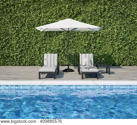 Swimming pool with wooden deck and sun loungers in backyard, 3D illustration, rendering.
