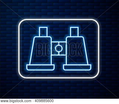 Glowing Neon Line Binoculars Icon Isolated On Brick Wall Background. Find Software Sign. Spy Equipme