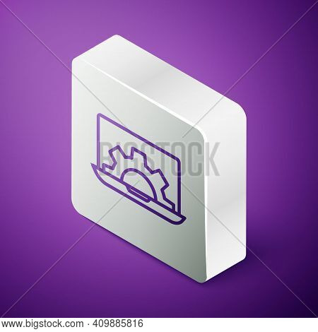 Isometric Line Software, Web Development, Programming Concept Icon Isolated On Purple Background. Pr