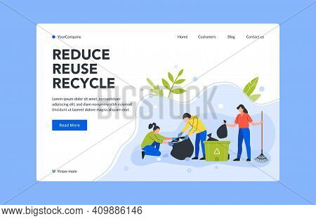 Reduce Reuse And Recycle Trash Landing Page. Vector Recycle Garbage And Ecological Garbage Or Litter