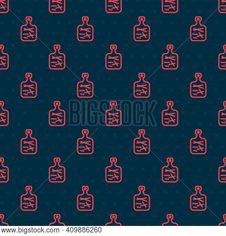 Red Line Cutting Board Icon Isolated Seamless Pattern On Black Background. Chopping Board Symbol. Ve