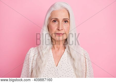 Portrait Of Attractive Content Grey-haired Woman Wearing Pinup Blouse Isolated Over Pink Pastel Colo