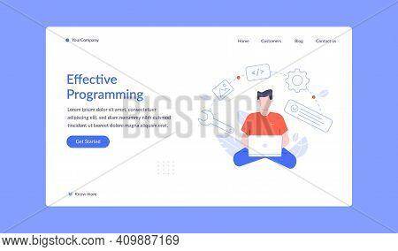 Effective Programming Landing Page, Vector Work With Script, Office Developer Coding, Business Progr