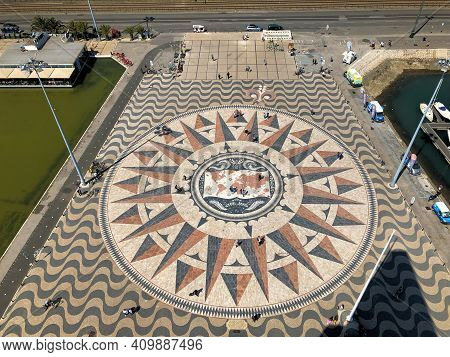 Painted Compass Rose On The Ground In Santa Maria De Belem Near Lisbon In Portugal 27.3.2019