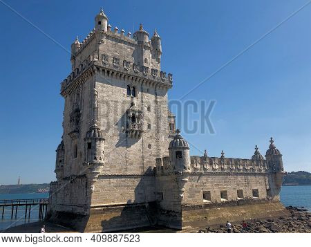 Historic Old Torre De Belem In Santa Maria Near Lisbon In Portugal 27.3.2019