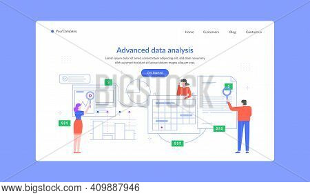 Advanced Data Analysis Landing Page, Team Research. Vector Finance Data Analysis, Chart Research Ana