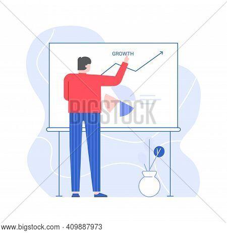 Man Presentation Chart Development On White Board. Illustration Business Chart Presentation, Develop