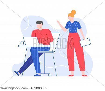 Boss Businesswoman And Office Worker, Work Situation. Vector Business Office Worker, Work Businesswo