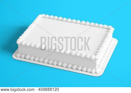 3D Rendering Plain White Birthday Cake Isolated On Colored Background. Fit For Your Design Element.