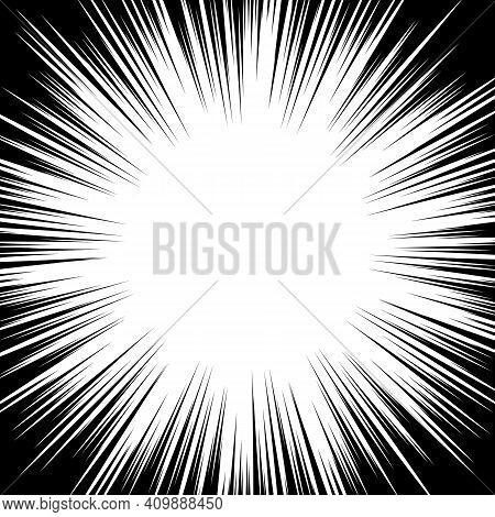 Circular Radial Black White Stipe In Pop Art Style. Radial Shape Beam, Artistic Ray Circular To Maga