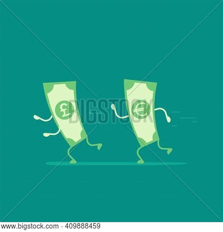Green Euro Banknote Chasing Pound Sterling. Money Running. Flat Vector Illustration On Blue. Currenc